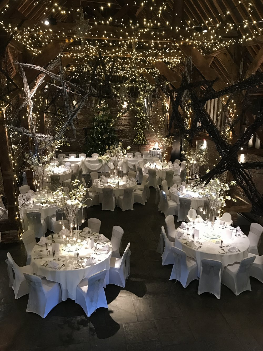 A truly magical setting, 'An Enchanted Forest' for Christmas Cooling Castle barn 2017.