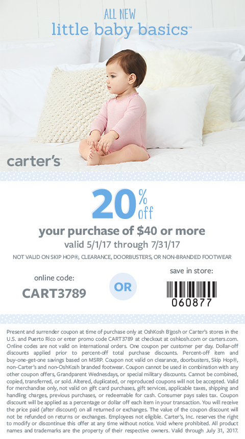 carters 20% off coupon 2017