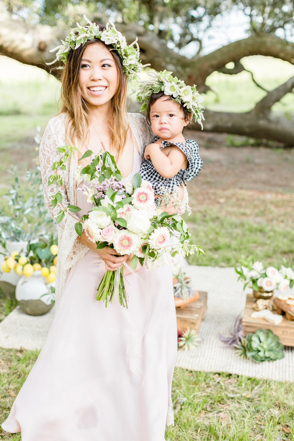 Boho Mommy and Me Floral Crown  Pottery Barn Blush Family Joy Plus Love Styled Shoot