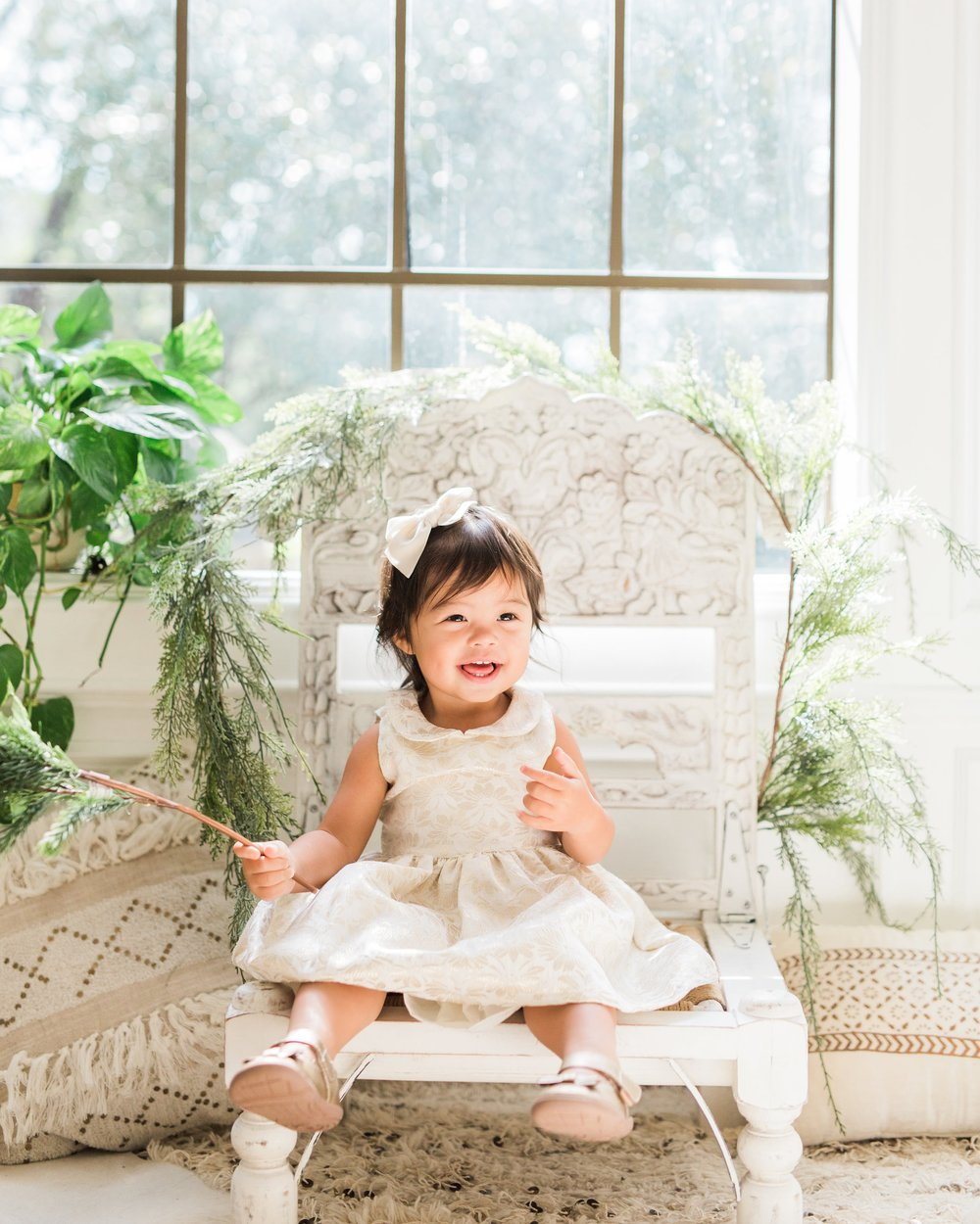 Carter's cute baby Christmas dressy outfit gold dress Joyfullygreen church oufit