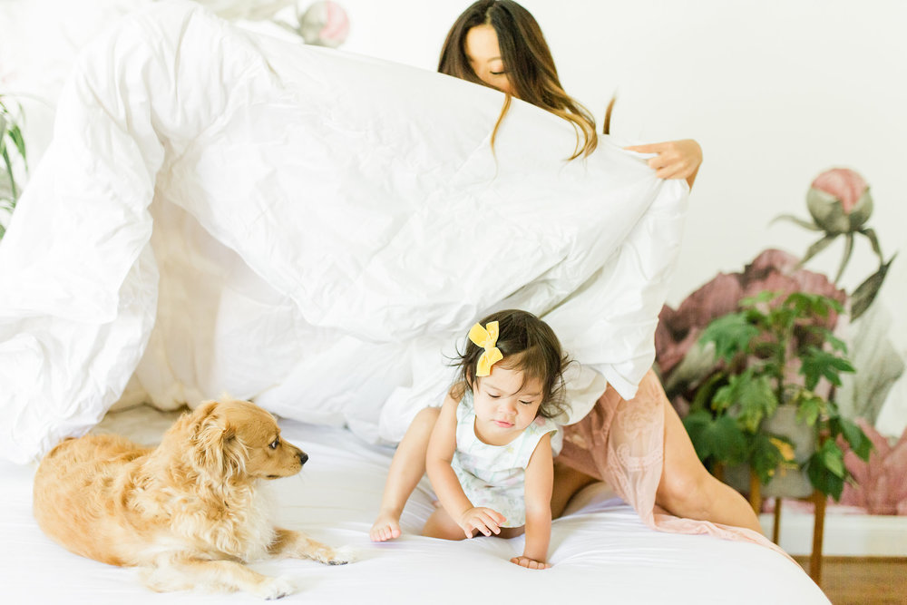 How to Get Better Sleep 3 Quality Bedding Basics To Build your Sanctuary The Company Store Review Joyfullygreen baby and puppy.jpg