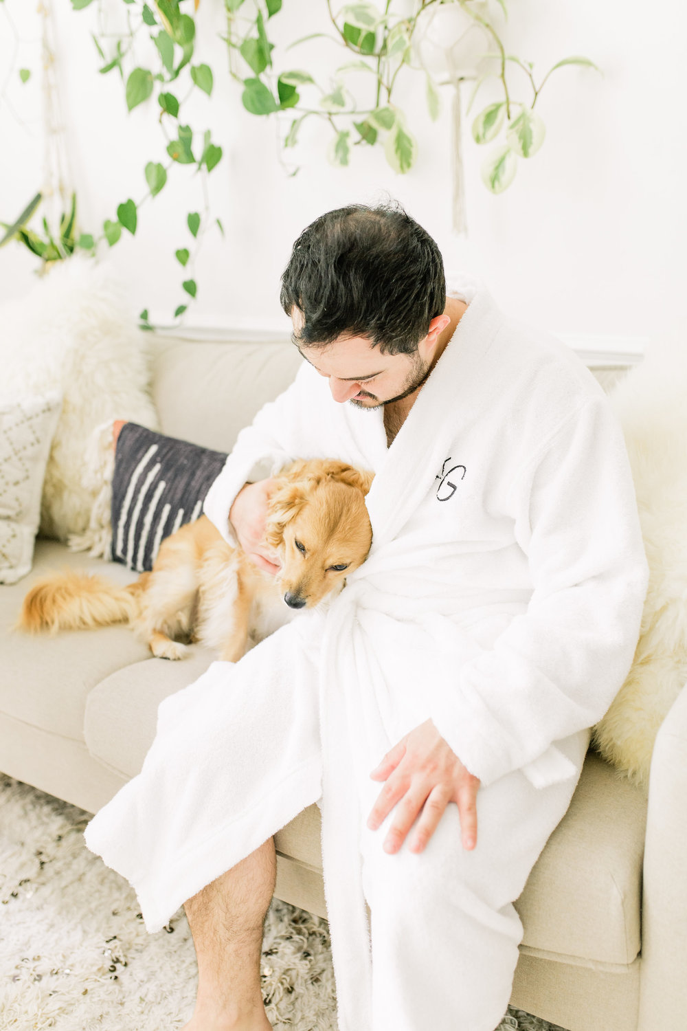 Joyfullygreen The Company Store Unisex White Fluffy Robe Monogramed Father's Day Gift Idea. Mens Robes.jpg