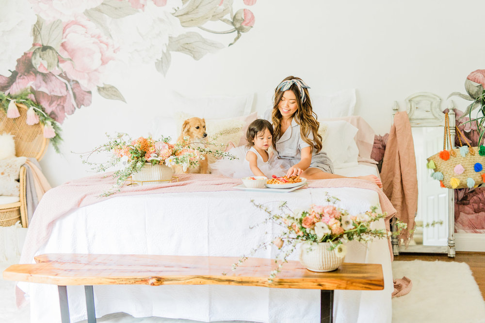 Neutral Blush and White Spring Master Bedroom Makeover, How to make/dress a bed in 3 steps