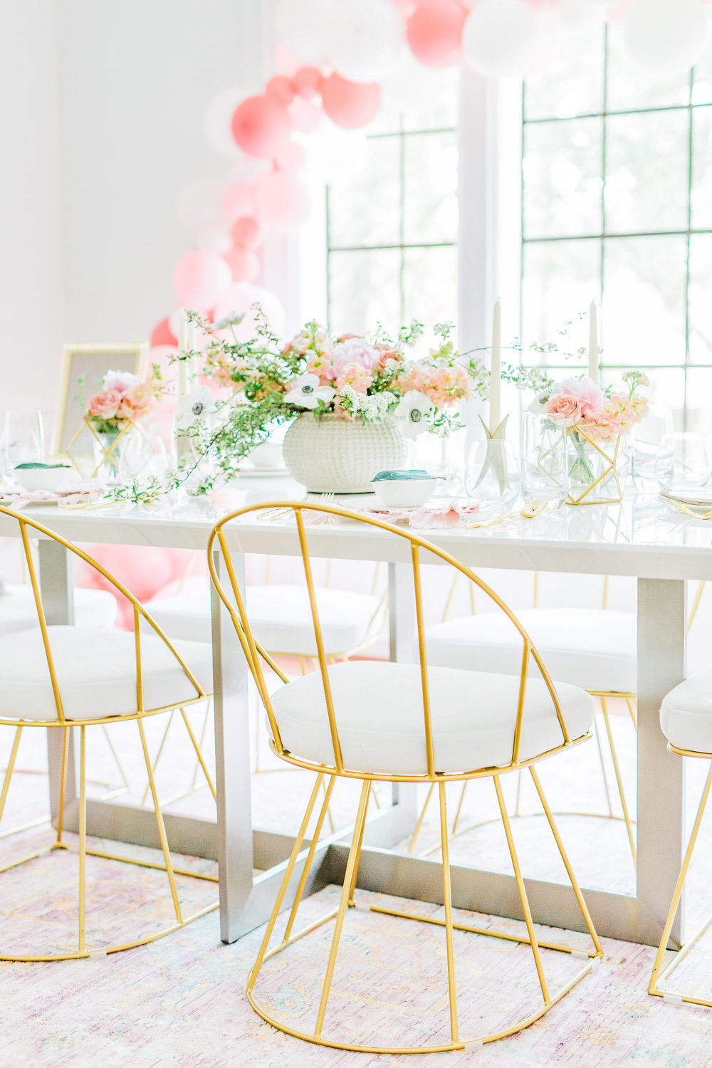 Pink and gold bridal shower ideas LumiSource Canary Dining Chairs in White (Set of 2) LumiSource Canary Dining Chairs in White (Set of 2)