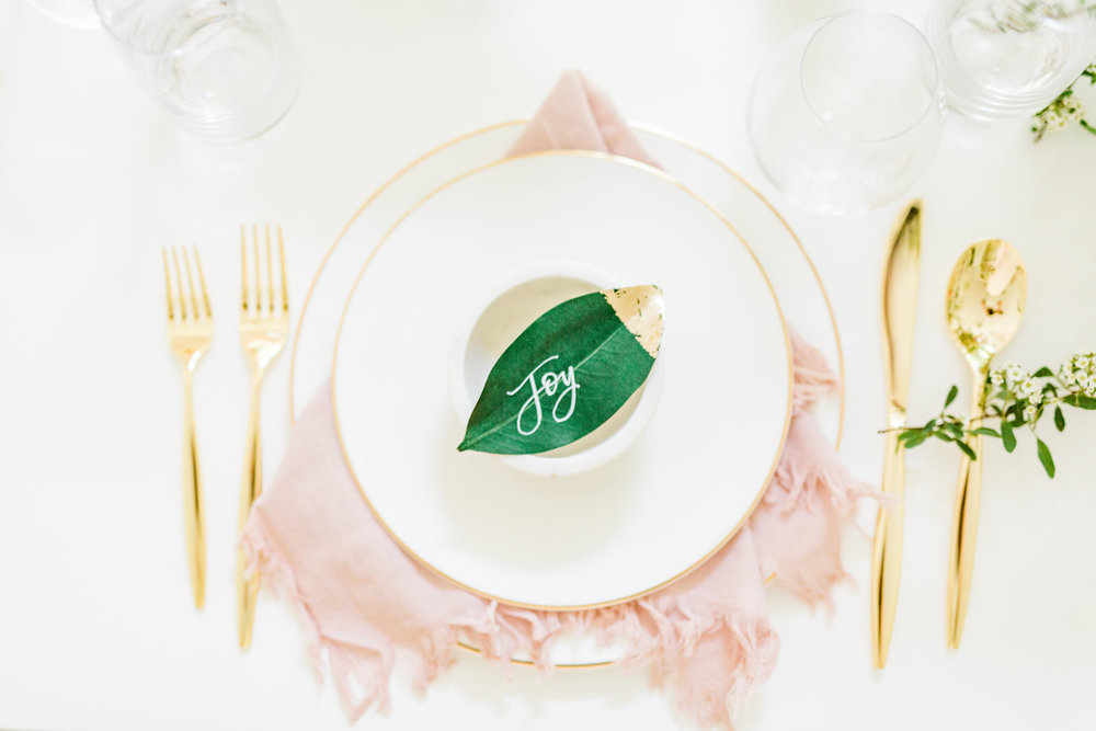 Olivia and Oliver Gold, Blush and Greenry Plants Gilded Garden Styled Bridal Shower Brunch with Bed Bath Beyond Olivia & Oliver Madison 5-Piece Flatware Place Setting in Gold dipped place card holder  Joyfullygreen2.jpg