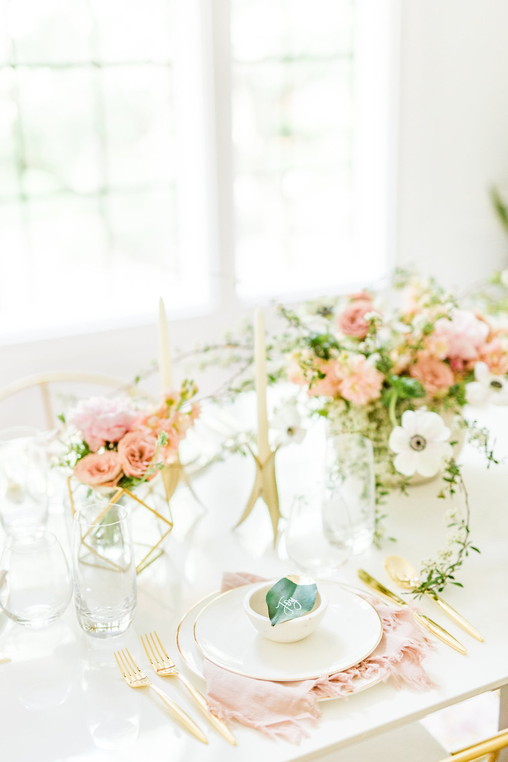 gold and blush themed wedding bridal shower