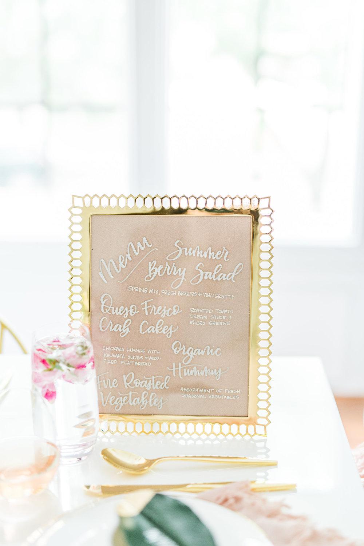 Olivia and Oliver Gold, Blush and Greenry Plants Gilded Garden Styled Bridal Shower Brunch with Bed Bath Beyond Gold menu calligraphy Joyfullygreen18.jpg