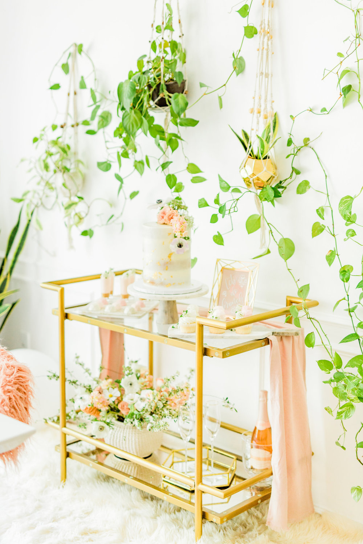 Olivia and Oliver Gold, Blush and Greenry Plants Gilded Garden Styled Bridal Shower Brunch with Bed Bath Beyond Bassett Mirror Company Fouquet Tea Bar Cart Joyfullygreen11.jpg