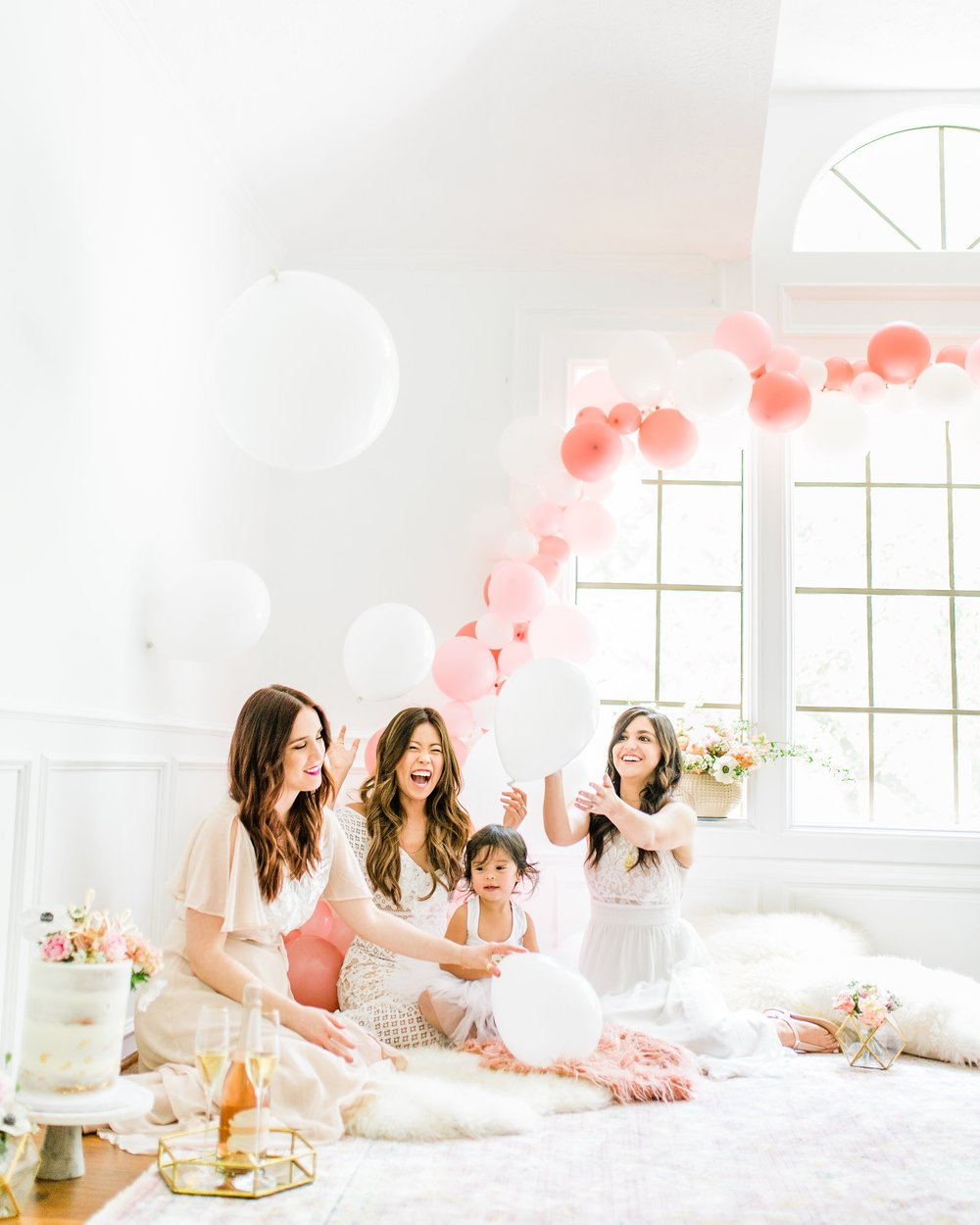 boho girly blush gold greenery bridal shower pink ballon garland gold naked cake