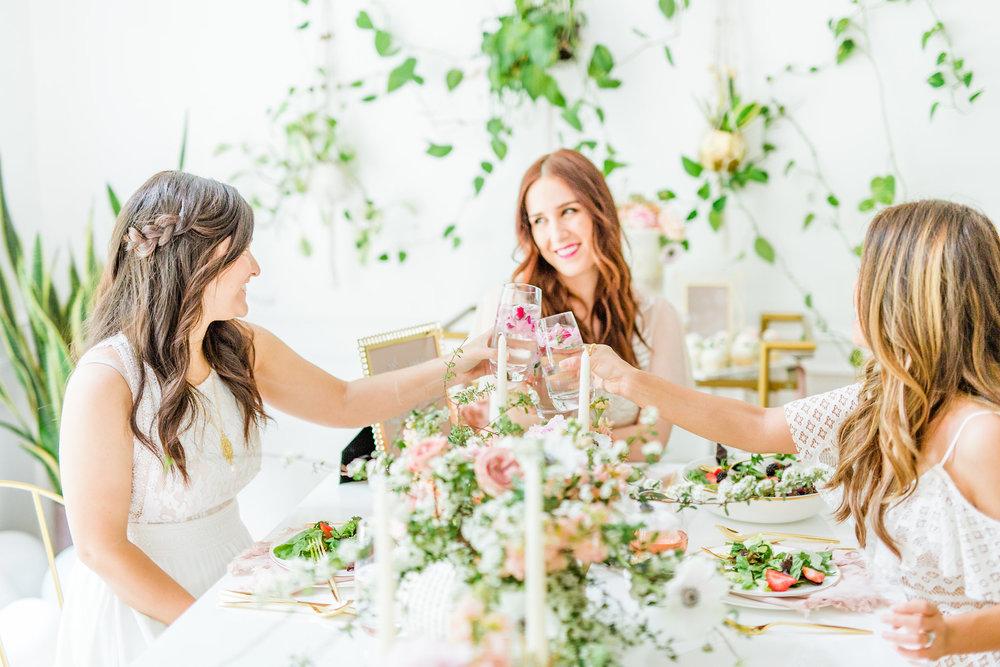 greenery plants golden blush bridal shower urban jungle inspired romantic bride brunch