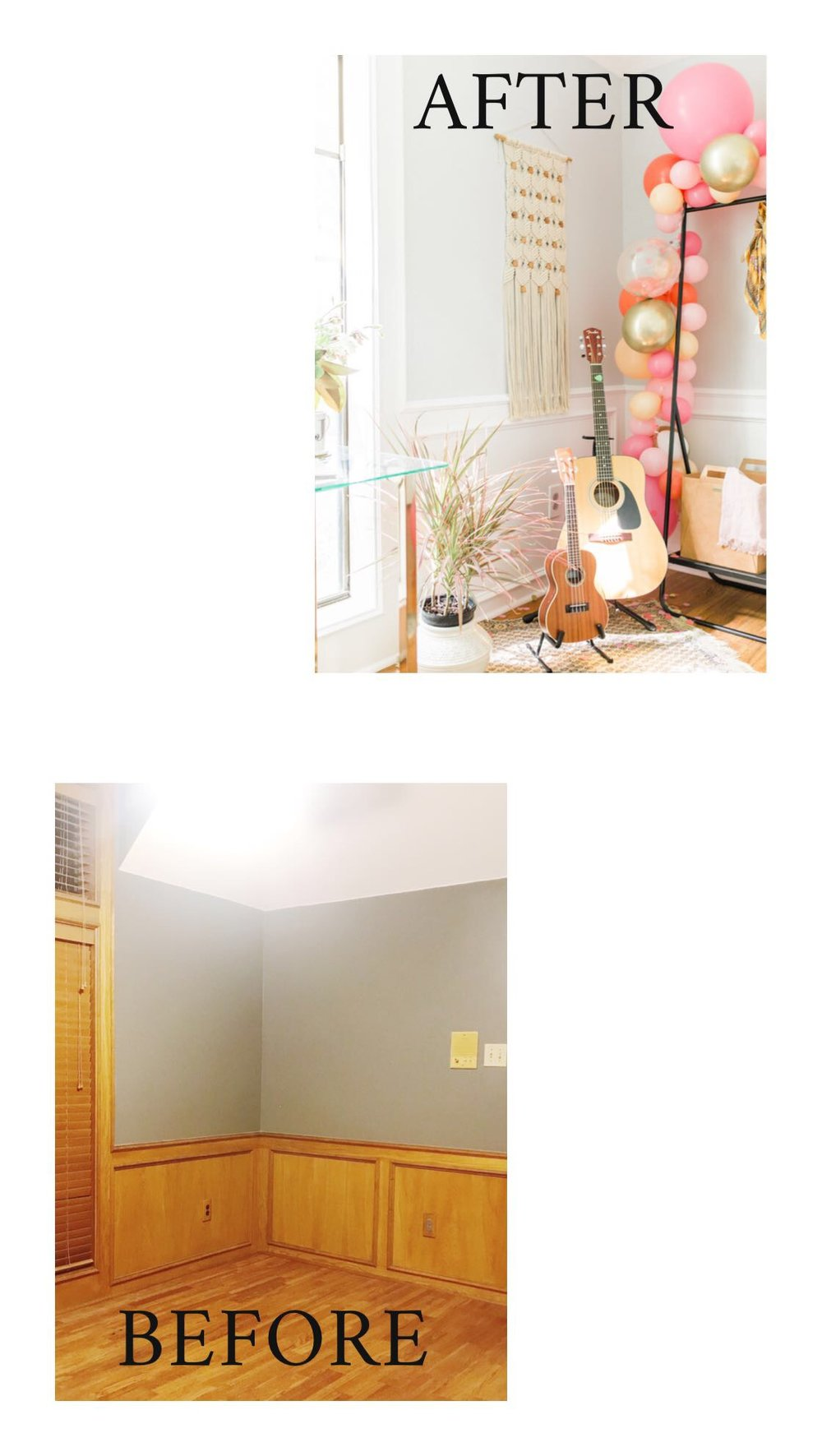 White Cabinets Office Before and After Modern Shared Work Space with Clark+Kensington Designer White Paint Neutral Hygge Home