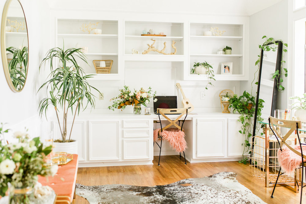Modern Home Office with House Plants, Gold Round Mirror, DIY White Cabinets makeover before and after using Clark+Kensington Designer Neutral White Paint