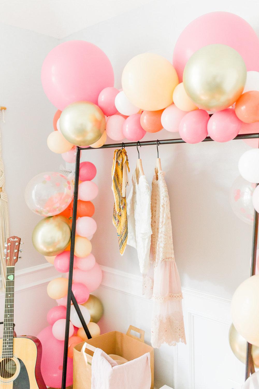 Ballon garland party blogger houston decor planner DIY makeover