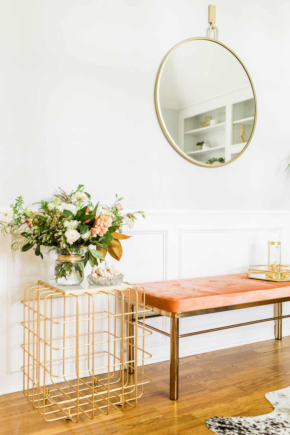 Home Decorating Tips for Beginners, Buy this Not That Gold Round mirror blush velvet bench