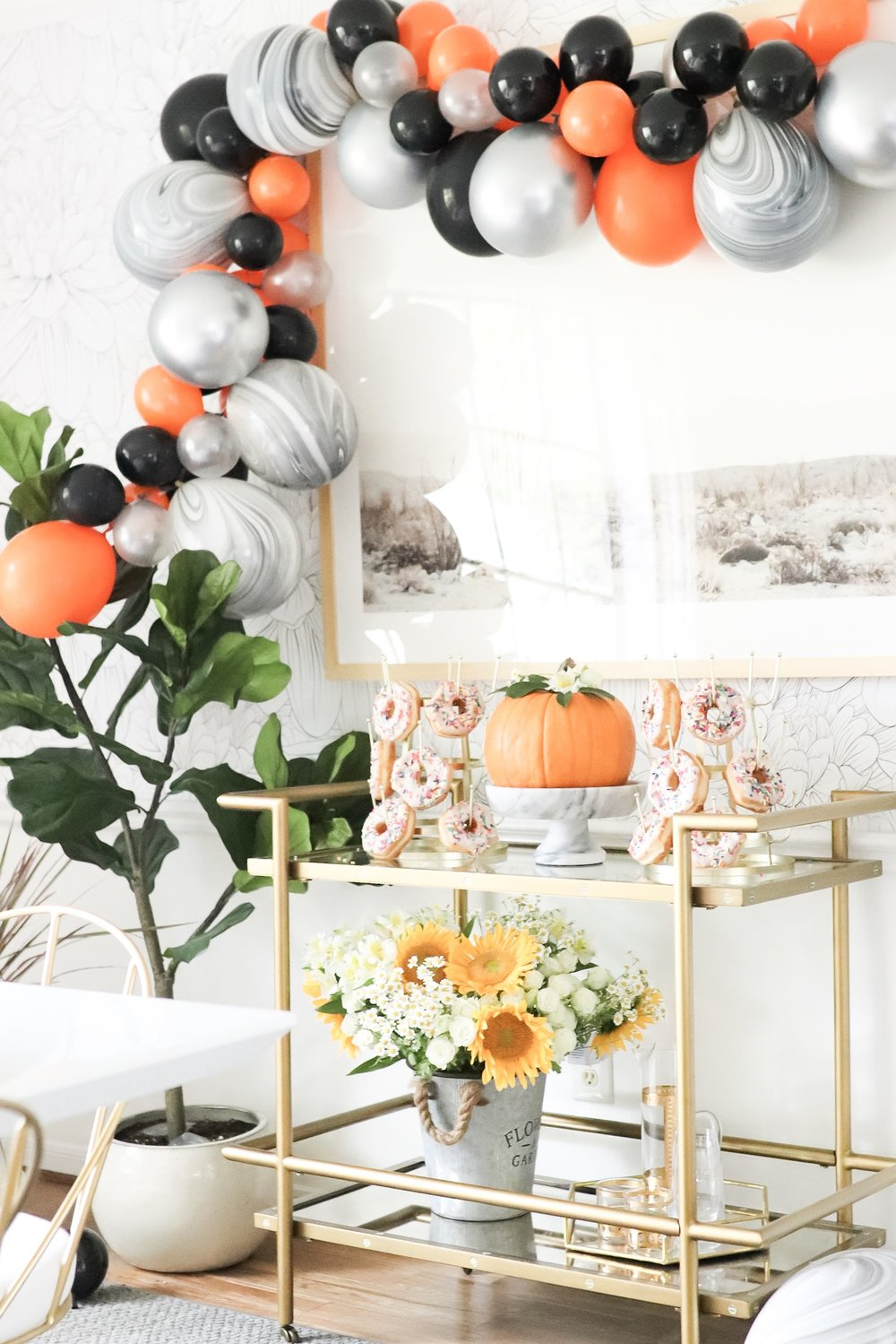 Halloween ballon garland DIY Fall Harvest Donut Party Dining Room Set Up in 30 Minutes