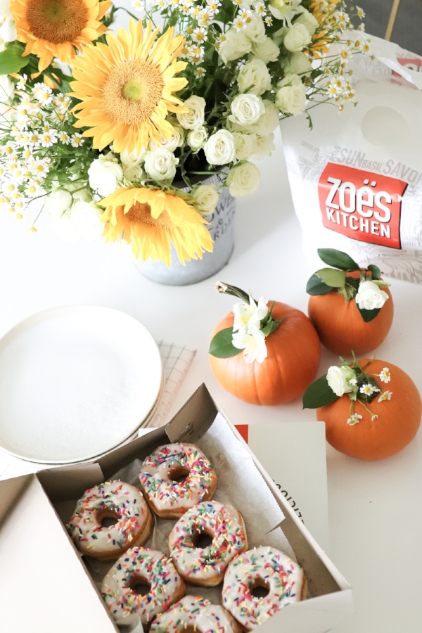 Fall Harvest Donut Party Dining Room Set Up in 30 Minutes SHipley Donuts