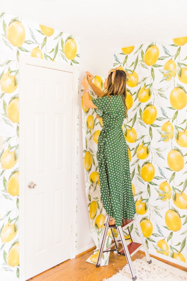 how to install peel and stick removable wallpaper lemon wallpaper guest room transformation