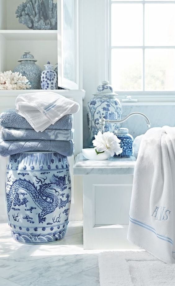 Such a beautiful bathroom. I'm a sucker for Chinese blue and white art. These are from FrontGate
