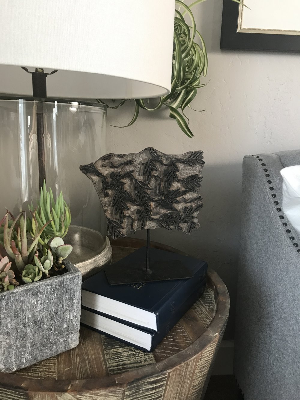 glass lamp Ethan Allen succulent in concrete container