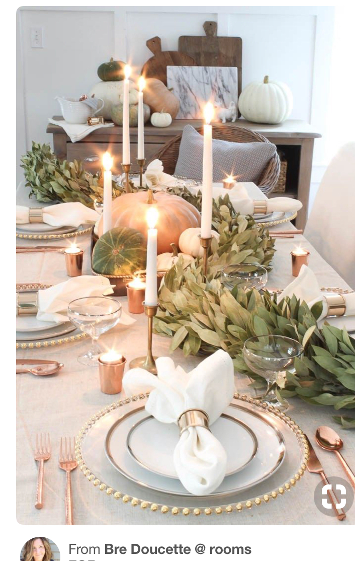 "So crazy I wrote what I love above and then searched it as "" sage and gold thanksgiving"" and this image above was almost exactly what I envisioned  !"