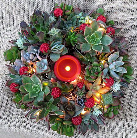 succulent candle wreath