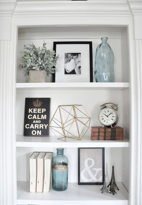 Personal touches are important to infuse into shelf accessories.