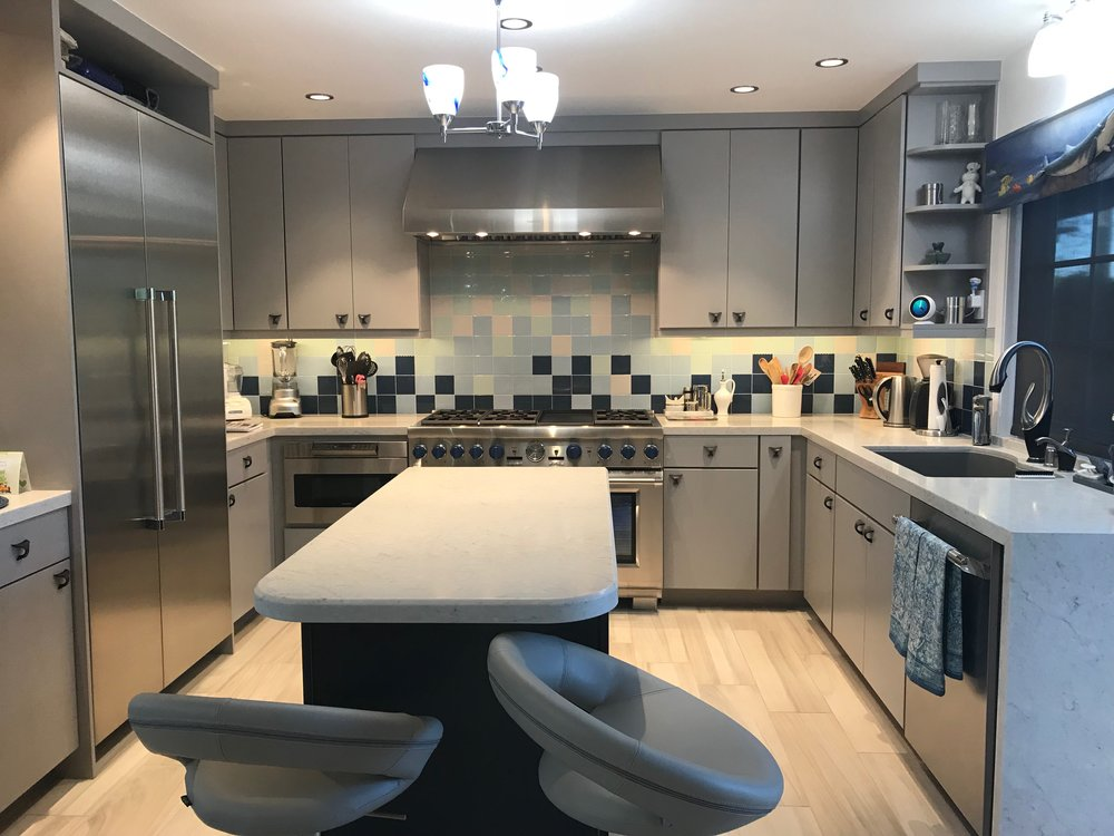 My favorite kitchen remodel of 2017. Modern Ocean feel.