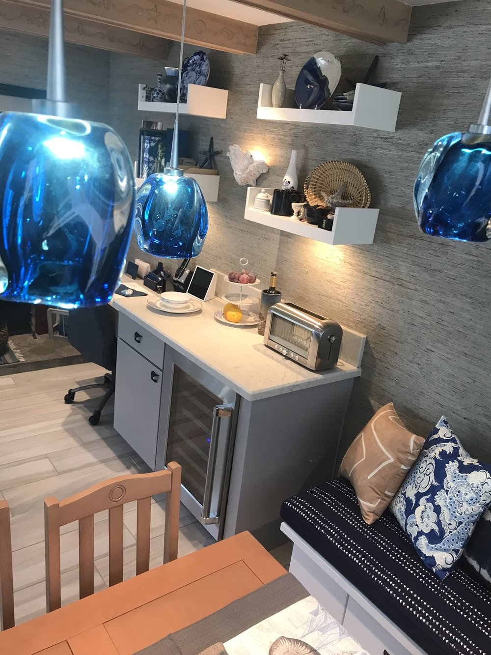 Great kitchen decor ideas in my interiors page. My favorite kitchen remodel of 2018! Beach theme tying in all colors from the sea!
