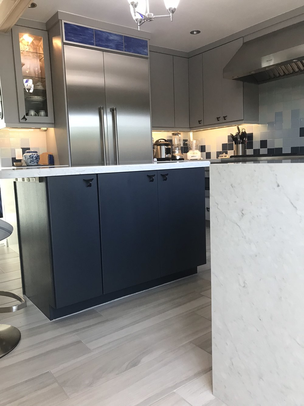 Kitchen decor ideas: I saw this cabinet contrast immediately in my mind when speaking with client in the first meeting. …We are BOTH so glad they trusted my vision!