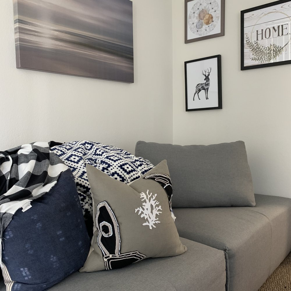 Living Room Decor Ideas: Dark indigo and black are my favorite! And I love that they enhance my career!