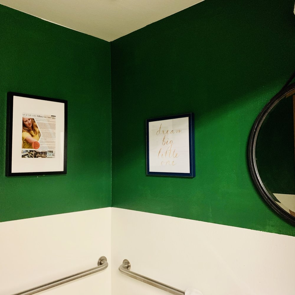 Green walls: My office powder room is now my favorite with the green walls to enhace family and community in my office.
