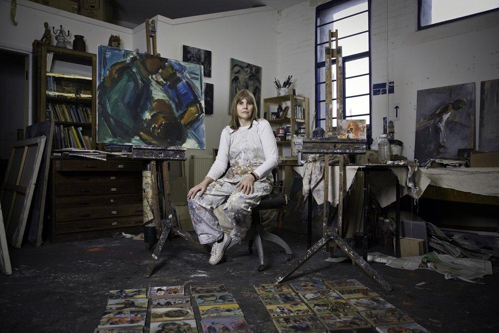 Portrait photograph of artist Ghislaine Howard