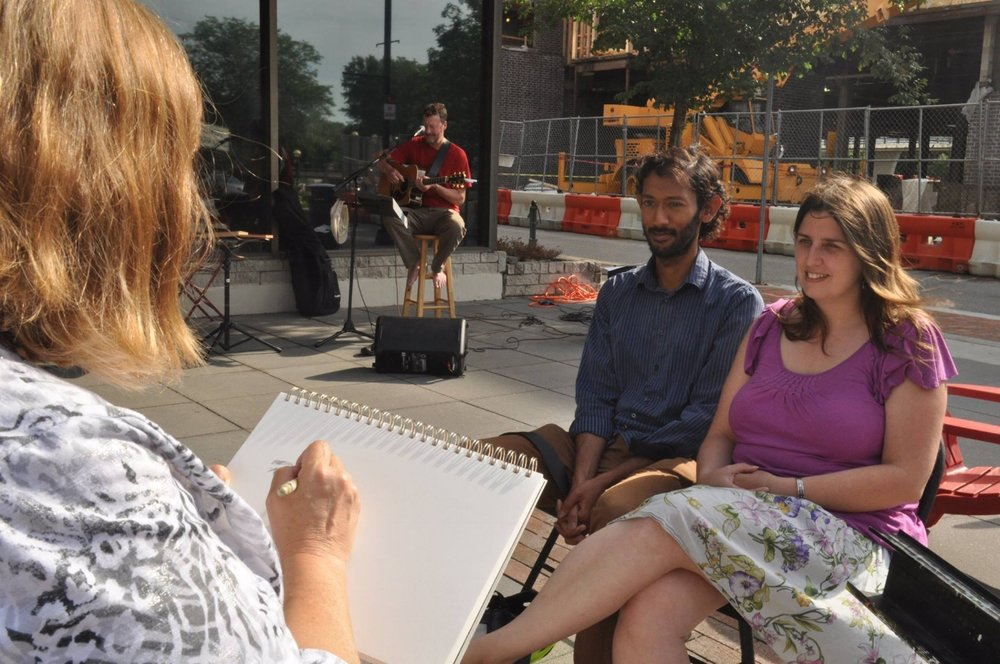 Portrait sketching and live guitar sing-a-long at Chase Plaza in Lafayette