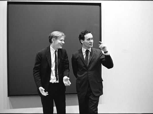 Andy Warhol and Robert Indiana in 1963. Photo by William John Kennedy. Many of Kennedy's gorgeous black and white shots of these two are available for purchase as limited edition gelatin silver prints via  Kiwi Arts Group . (Not an ad)