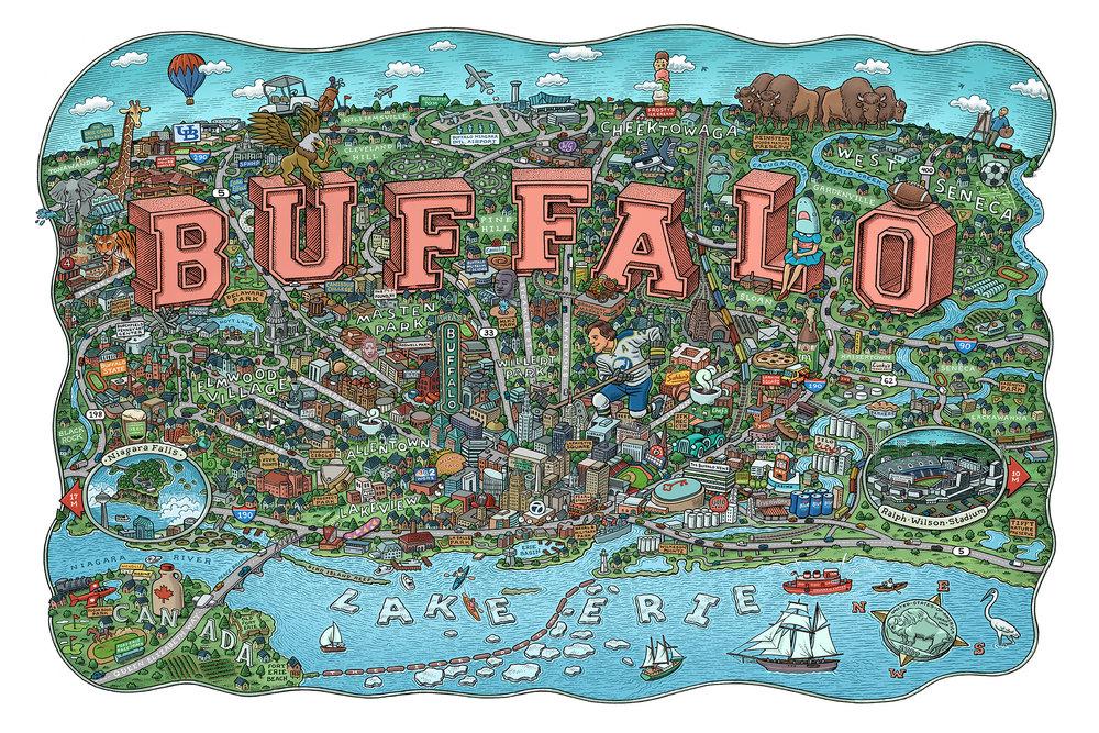 Buffalo Map by Mario Zucca