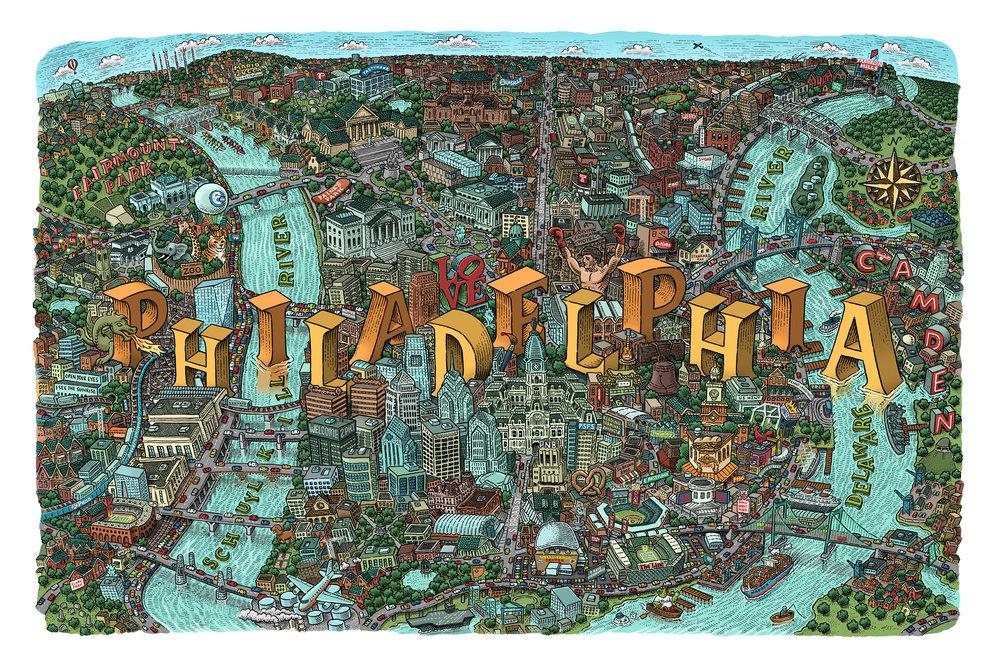 Philadelphia Map by Mario Zucca