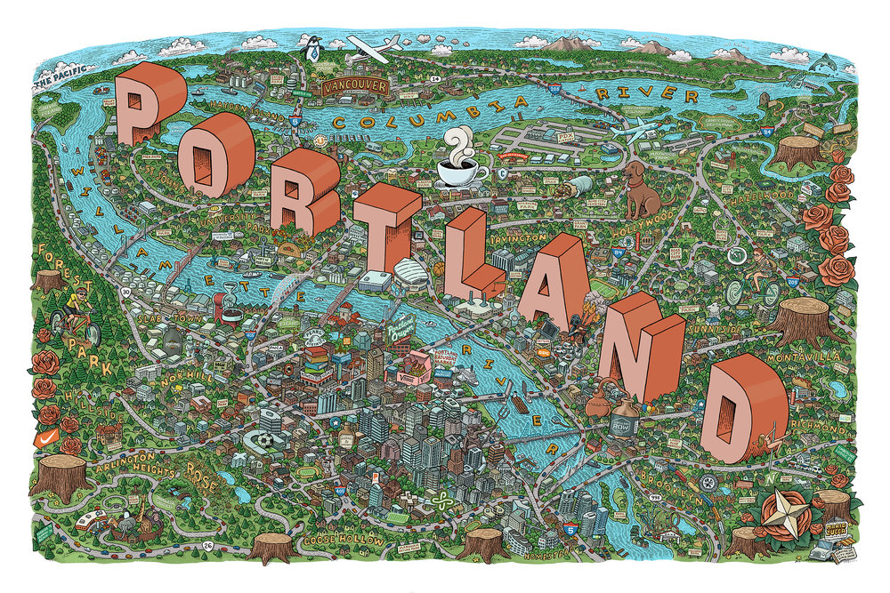 Portland Map by Mario Zucca