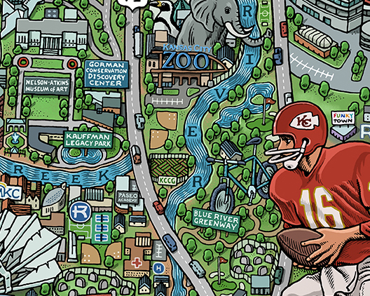 Kansas City — Hand-Drawn Maps by Mario Zucca