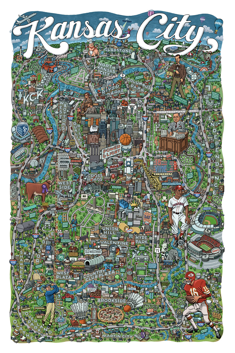 Kansas City Map by Mario Zucca