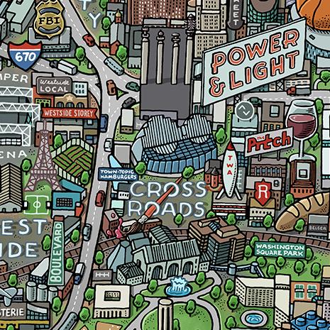 Kansas City Map HandDrawn Maps By Mario Zucca - Kansas city map