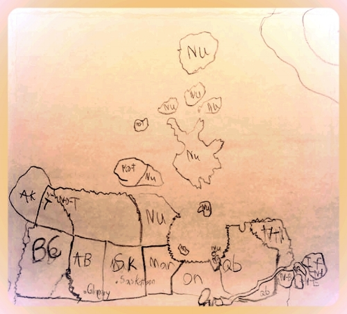 Ben's drawing of Canada from memory after studying the one hanging in his Grade 2 class.