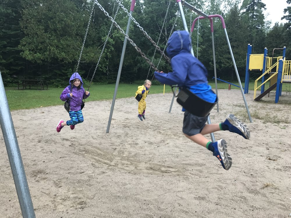 Aaron Provincial Park - The only kids playing at the playground in the rain.