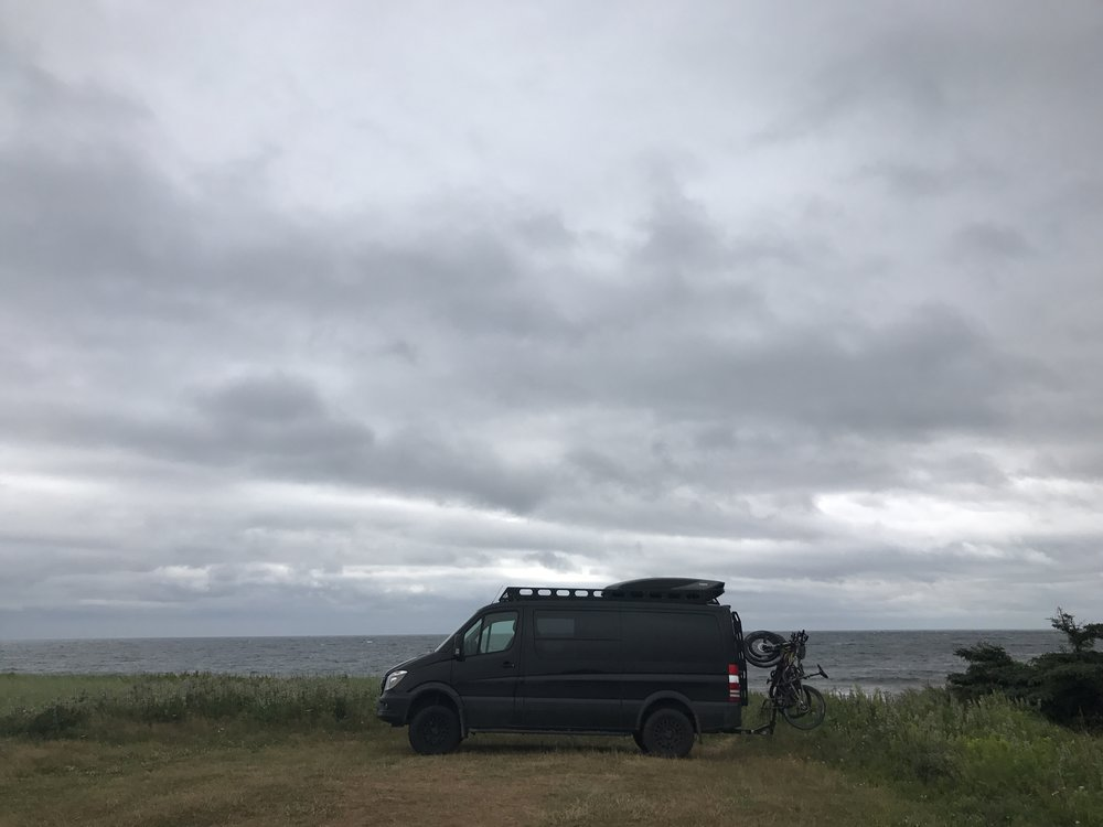 Black Betty geared up for the crossing to Nova Scotia. One last look at the beach near Michelle's cottage.