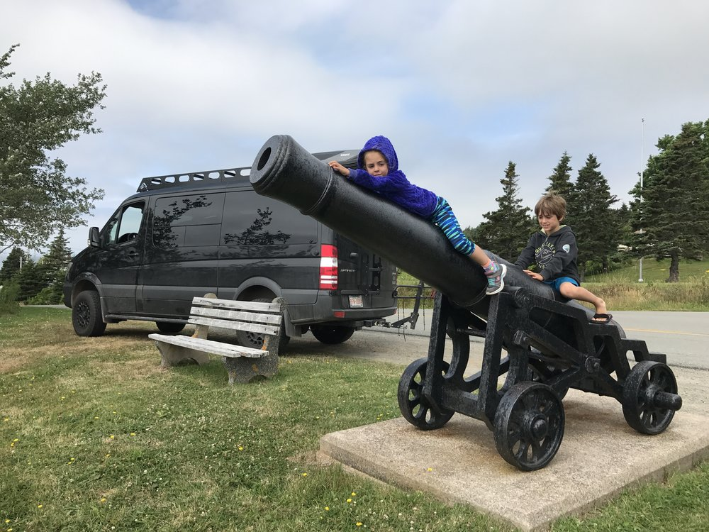 Checking out the canons on the Lower Road in Arichat, Isle Madame.