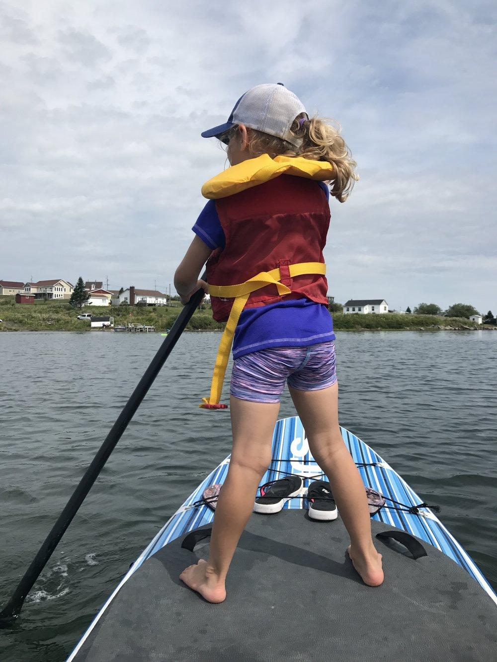 Ellie paddle boards the Petit-de-Grat harbour.