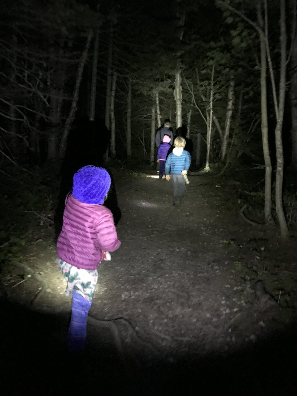 Hiking in the dark - a highlight on our cross Canada trip.