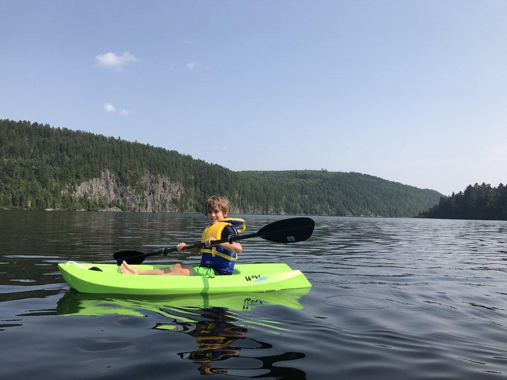 Ben paddles.