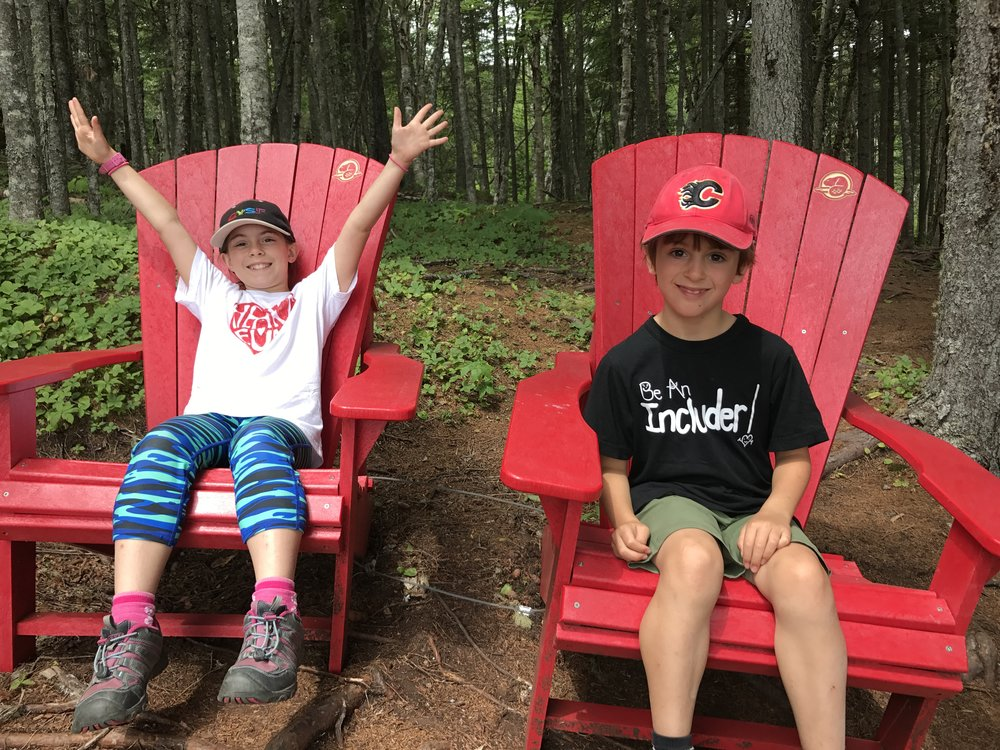 These kids were always excited to find chairs on hikes. These were on the Matthews Head trail in Fundy National Park, NB.