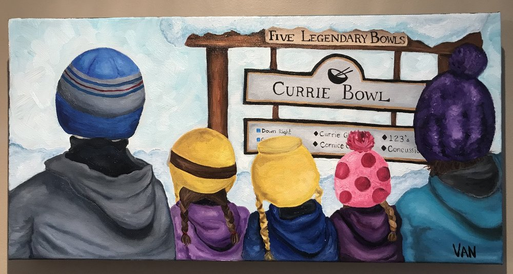Family Fun - 10x20, oil on canvas.This Currie Bowl sign holds a very special place in our hearts and so I created this painting of our family at the top of Whitepass Chair in Fernie, BC. Already we have formed many memories as a family in this bowl. I chose to paint the kids with the toques and coats that they wear nearly 100% of the time. For a long time, no other toque would do!!