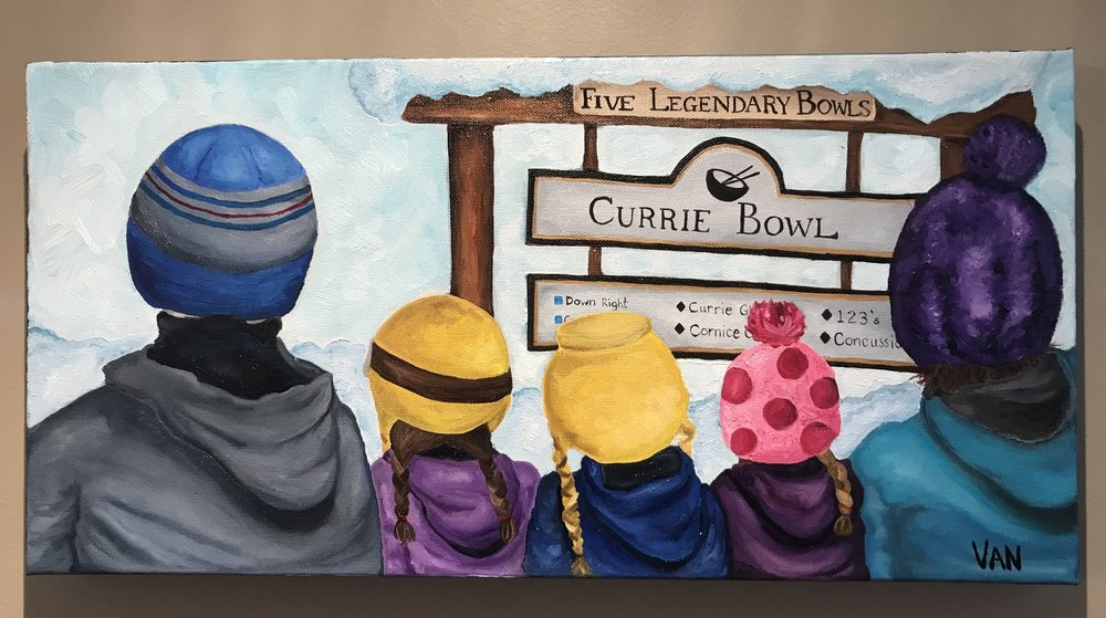 Have you seen the painting my Mom finished? We love it! This is one of our favorite places. Even though we always wear helmets up there, she painted us with our favorite toques. Do you know where we are?  Great job Mom! We love it!